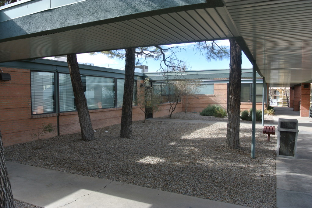 Figure 9. Courtyard landscape and covered walkway after alterations, Medical Arts Square, November 2015. Photograph by author.