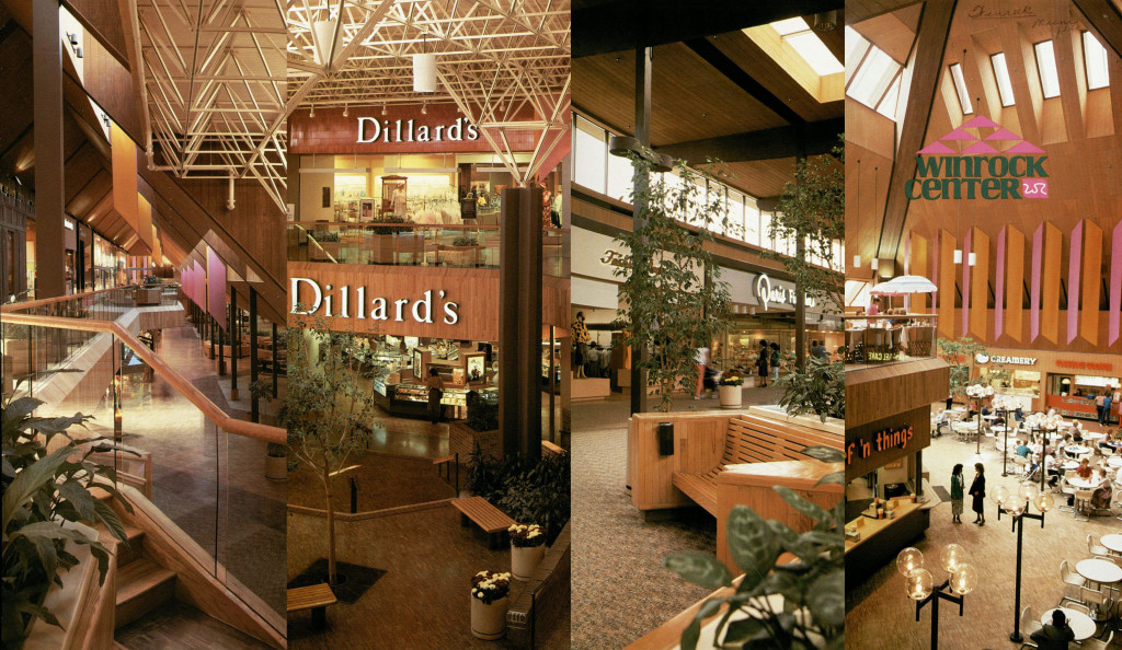 "Figure 3. Winrock Mall, interior photographs from a 1986 brochure. Source: ""Celebrating 25 Years"" Winrock Center brochure, General Vertical Files, Folder ""Malls & Shopping Centers,"" Subfolder ""Coronado & Winrock,"" Center for Southwest Research and Special Collections, University of New Mexico, Albuquerque, NM."