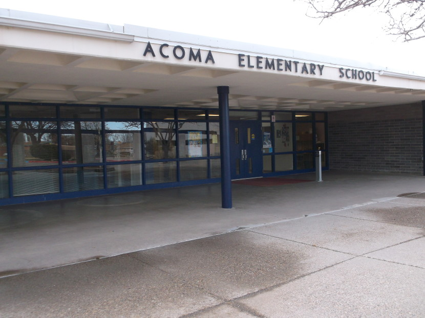 Figure 1. Main entrance, Acoma Elementary School, Albuquerque, NM, November 2015. Photograph by author.