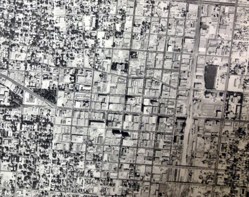 Figure 1. Aerial photograph of downtown Albuquerque, NM, 19XX. Source: Map & Geographic Information Center (MAGIC), Centennial Library, University of New Mexico, Albuquerque, NM.