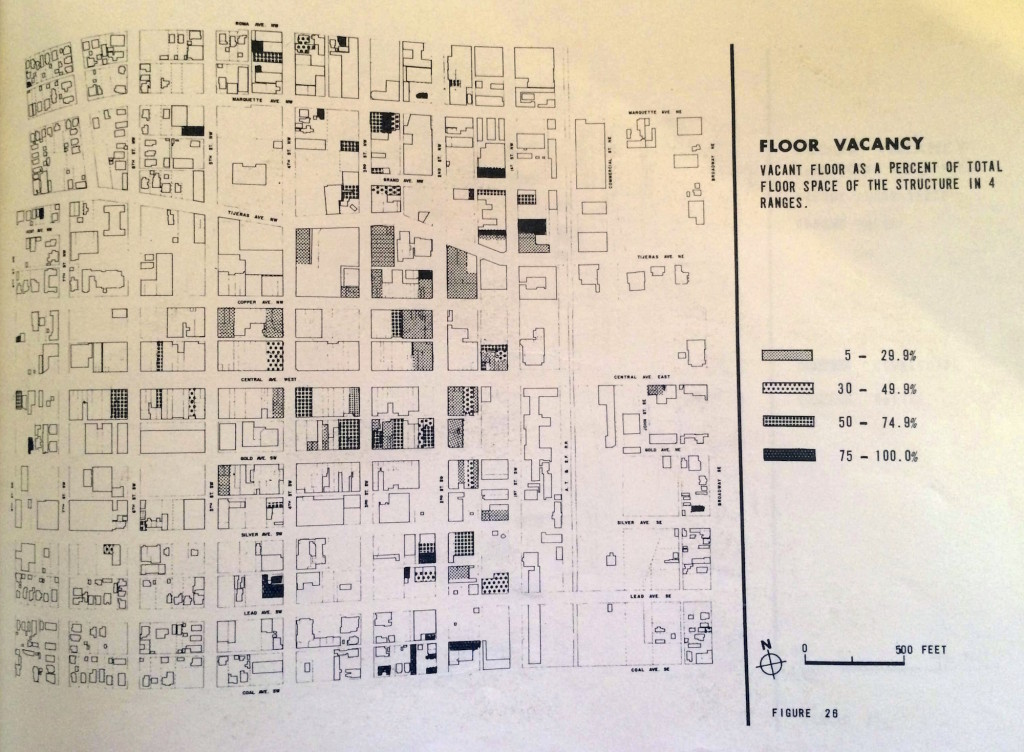 Figure 2. Floor Vacancy in downtown Albuquerque, 1965. Source: City of Albuquerque Planning Department, Central Area Study (Albuquerque: City of Albuquerque Planning Department: January 1965).