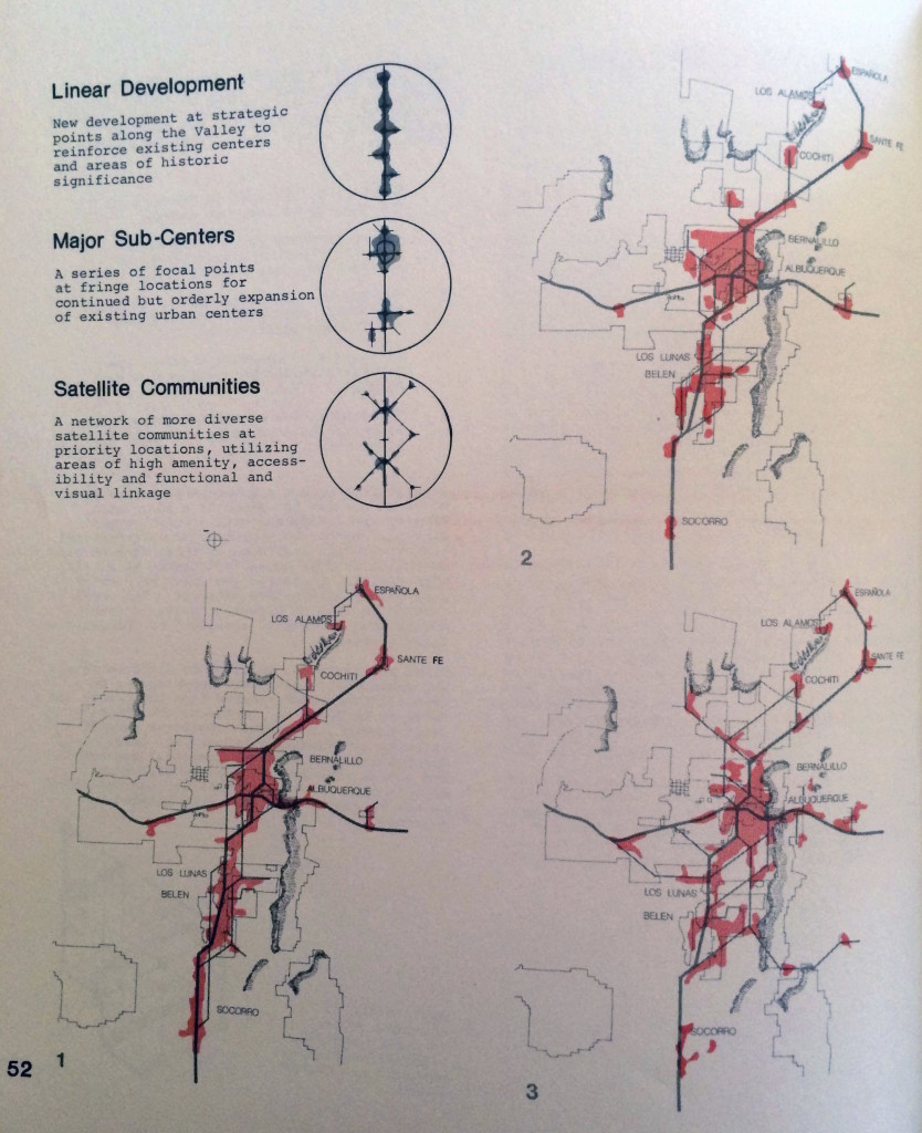 Figure 3. Map showing linear and multicentered development projections for Albuquerque, 1972. Source: Albuquerque/Bernalillo County Planning Department, Albuquerque/Bernalillo County Comprehensive Plan (Albuquerque: Albuquerque/Bernalillo County Planning Department, April 1972).