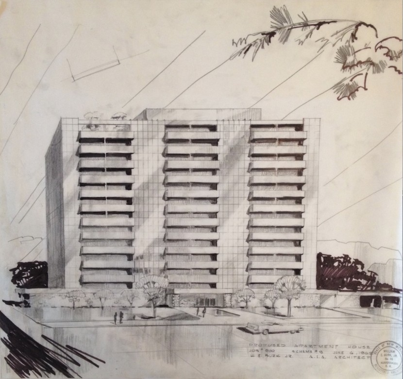 "Figure 3. Burk, ""Proposed Apartment House,"" 6 June 1962. Source: Stack 19, Drawer 6, Burk Architectural Drawings and Plans."