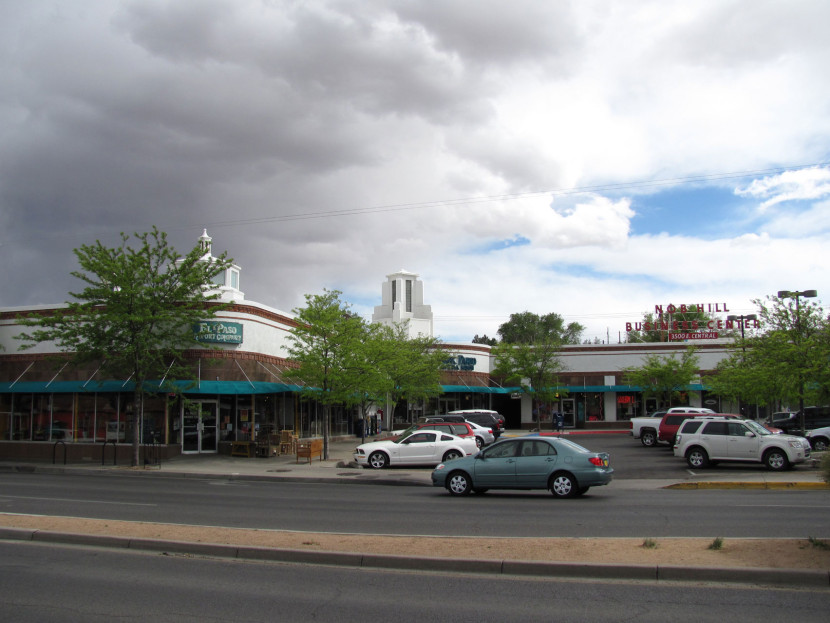 Figure 4. Nob Hill Shopping Center, May 2010. Photograph by John Phelan. Source: Wikimedia Commons, accessed October 20, 2015, https://commons.wikimedia.org/wiki/File:Nob_Hill_Shopping_Center,_Albuquerque_NM.jpg.