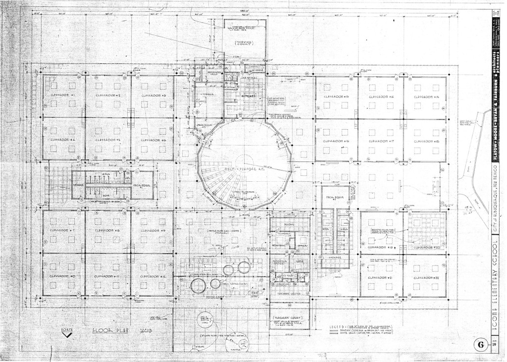 Figure 5. Flatow, Moore, Bryan and Fairburn, floor plan, Acoma Elementary School, 1958. Collection of the Albuquerque Public Schools. Courtesy of Tobias Flatow.
