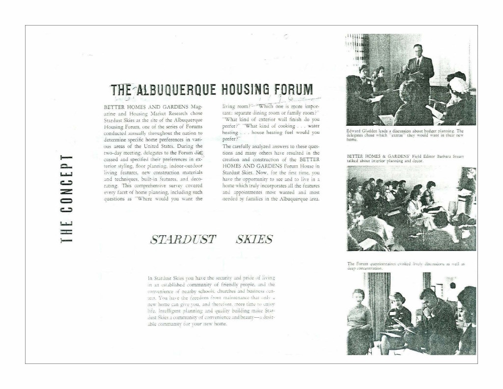 """Figure 5. """"The Albuquerque Housing Forum,"""" featured in an advertisement for Stardust Skies, ca. 1962. Source: A Brief History of Mossman Gladden Houses."""