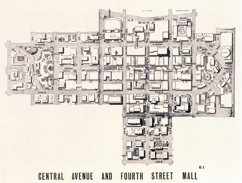 "Figure 5. ""Central Avenue and Fourth Street Mall,"" 1970. Source: City of Albuquerque Planning Department, The Downtown Plan (Albuquerque: City of Albuquerque Planning Department, December 1970)."