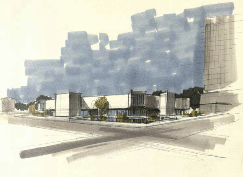"Figure 6. George Pearl, rendering of façade, Albuquerque Public Library, ca. 1972. Source: ""Albuquerque Public Library: Bound sketch book preliminary sketches, diagrams and notes,"" Box 6, Folder 8, George Pearl Papers (MSS 782 BC), Center for Southwest Research and Special Collections, University of New Mexico, Albuquerque, NM."