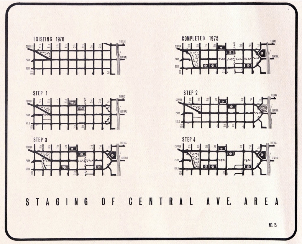 "Figure 6. ""Staging of Central Ave. Area,"" 1970. Source: City of Albuquerque Planning Department, The Downtown Plan."