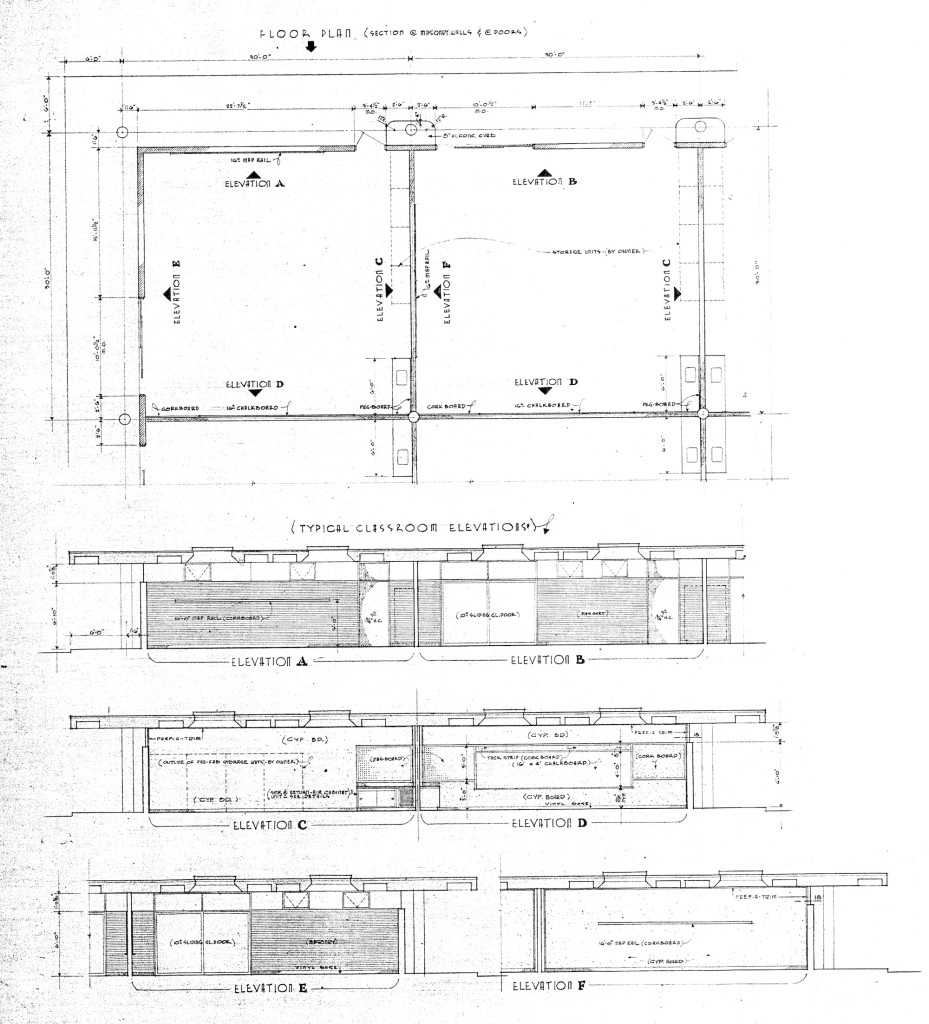 Figure 7. Flatow, Moore, Bryan and Fairburn, typical classroom plan and elevations, Acoma Elementary School, 1958. Collection of the Albuquerque Public Schools. Courtesy of Tobias Flatow.