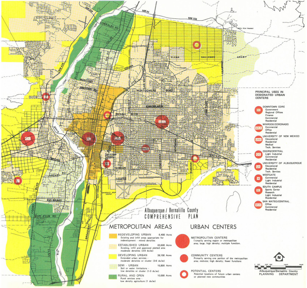 Figure 7. Plan showing nodal development of Albuquerque, 1975. Source: Albuquerque/Bernalillo County Planning Department, Albuquerque/Bernalillo County Comprehensive Plan: Metropolitan Areas and Urban Centers Plan (Albuquerque: Albuquerque/Bernalillo County Planning Department, 1975).